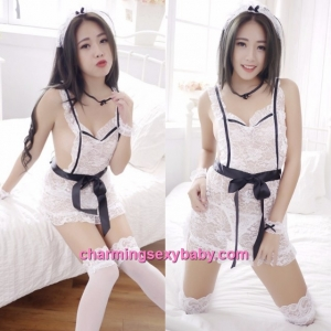 Sexy Lingerie White Fancy Maid Apron Dress Cosplay Costume Sleepwear BH1078