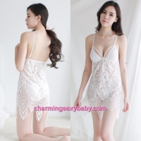 Sexy Lingerie White Sling Hollow Pattern Dress + G-String Sleepwear BH1073