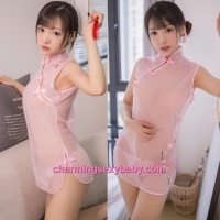 Sexy Lingerie Pink See-Through Cheongsam Dress Costume Sleepwear MH7933