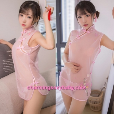 Sexy Lingerie Pink See-Through Cheongsam Dress Costume Sleepwear MH7933