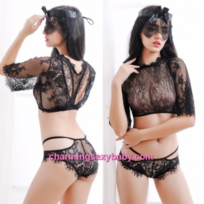 Sexy Lingerie Black Lace Top + Panties Sleepwear Nightwear Pajamas MM497