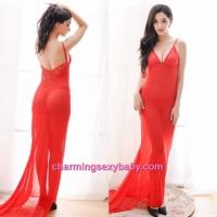 Sexy Lingerie Red Low-Cut Babydoll Long Dress + G-String Sleepwear MM604