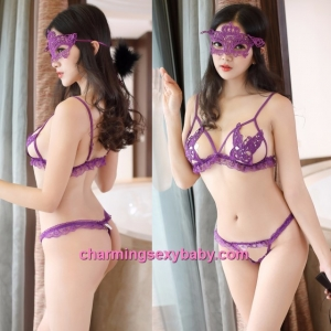 Sexy Lingerie Purple Butterfly Bra  + G-String Bikini Sleepwear Nightwear MM2295