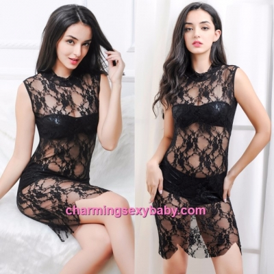 Sexy Lingerie Black Lace Dress + Tube + Panties Sleepwear Nightwear MM613