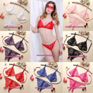 Sexy Lingerie Lace Bra + G-String Bikini Women Sleepwear Nightwear (7 Colors) LYC06