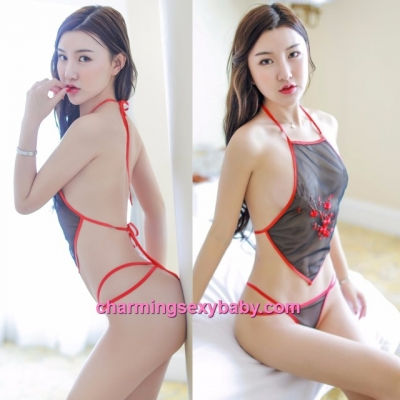Sexy Lingerie Black Transparent Belly Band + G-String Costume Sleepwear MH6229