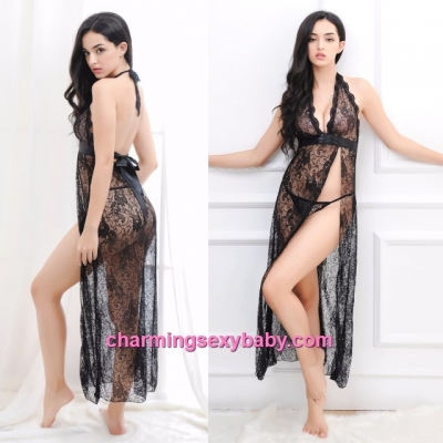 Sexy Lingerie Black Lace Side Slit Long Babydoll Dress + G-String Sleepwear MM605