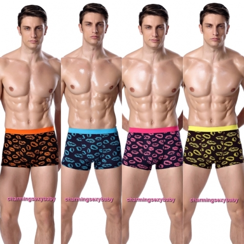 Sexy Bamboo Fiber Kiss Mark Men's Underwear Boxers Briefs Lingerie (4 Colors) LY3822
