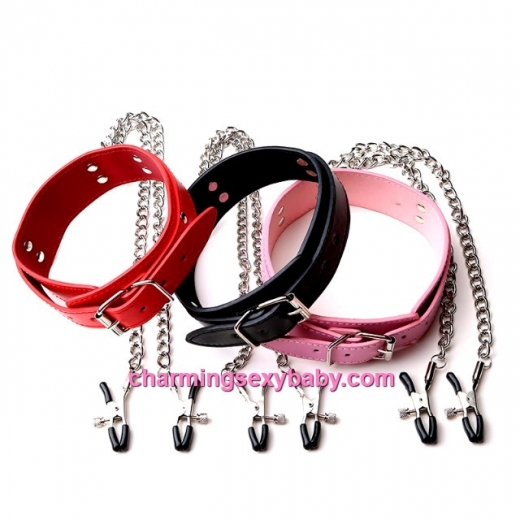 PU Leather Collar Neck + Breast Nipple Adjustable Clamp Chain Clips SM Bondage Adult Game CAN-3