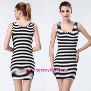 Sexy Lingerie White Stripes Tight Bottoming Dress Vest Sleepwear Nightwear YST9080