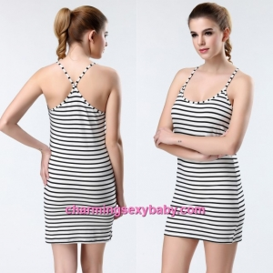 Sexy Lingerie White Stripes Tight Low-Cut Bottoming Dress Vest Sleepwear YST9081