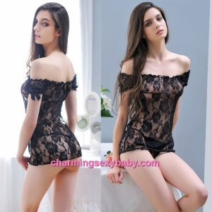 Sexy Lingerie Black Lace See-Through Top + G-String Sleepwear Nightwear MM7007