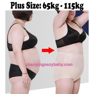 Women Plus Size Body Shaper Fitness High Waist Mesh Underwear Abdomen Panties PY5121