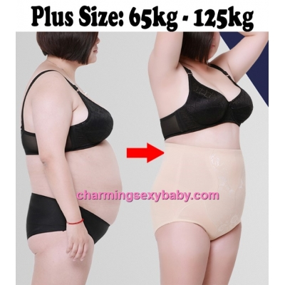 Women Plus Size Body Shaper Fitness High Waist Cotton Underwear Abdomen Panties PY5133