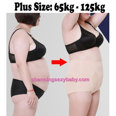 Women Plus Size Body Shaper Fitness High Waist Cotton Underwear Abdomen Panties PY5137