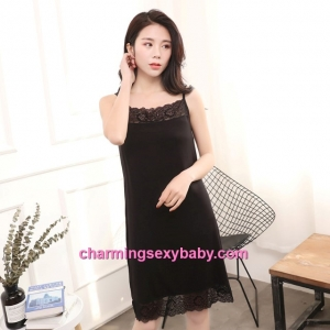 Sexy Lingerie Black Lace Modal Babydoll Sleepping Dress Loose Sleepwear QM01