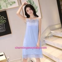 Sexy Lingerie Blue Lace Modal Babydoll Sleepping Dress Loose Sleepwear QM01