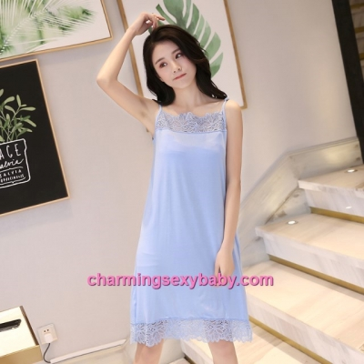 Sexy Lingerie Blue Lace Modal Babydoll Sleepping Dress Loose Sleepwear QM01