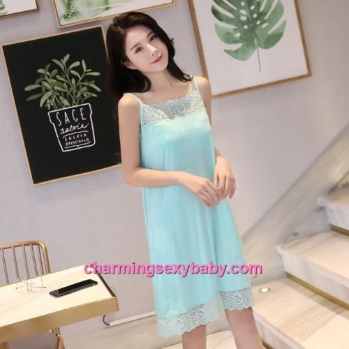 Sexy Lingerie Green Lace Modal Babydoll Sleepping Dress Loose Sleepwear QM01
