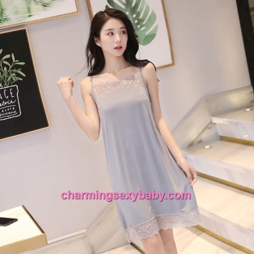 Sexy Lingerie Grey Lace Modal Babydoll Sleepping Dress Loose Sleepwear QM01