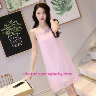 Sexy Lingerie Pink Lace Modal Babydoll Sleepping Dress Loose Sleepwear QM01