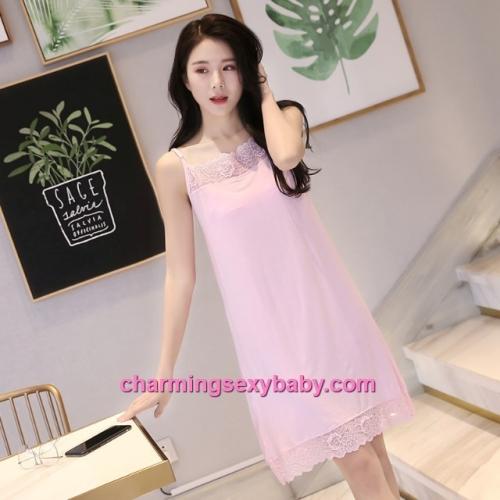 Sexy Lingerie Pink Lace Modal Babydoll Sleepping Dress Loose Sleepwear QM01