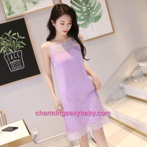 Sexy Lingerie Purple Lace Modal Babydoll Sleepping Dress Loose Sleepwear QM01