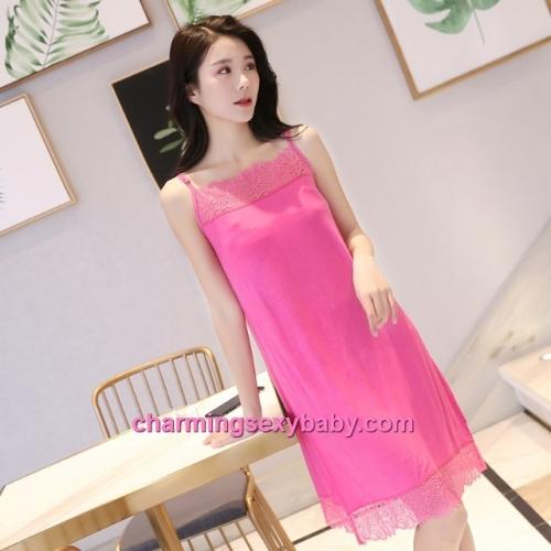 Sexy Lingerie Rose Red Lace Modal Babydoll Sleepping Dress Loose Sleepwear QM01