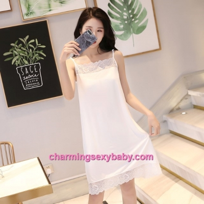 Sexy Lingerie White Lace Modal Babydoll Sleepping Dress Loose Sleepwear QM01