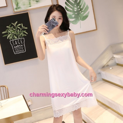 Sexy Lingerie White Lace Modal Babydoll Sleepping Dress Loose Sleepwear QM01