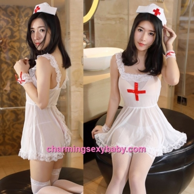 Sexy Lingerie White Nurse Uniform Open Butt Dress + G-String Costume Sleepwear MM4499