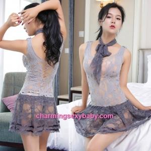 Sexy Grey Fishnet Body Stocking Dress Hosiery Lingerie Sleepwear WWL6023