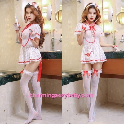 Sexy Fishnet Body Stocking Nurse Dress Hosiery Lingerie Sleepwear WWL6049