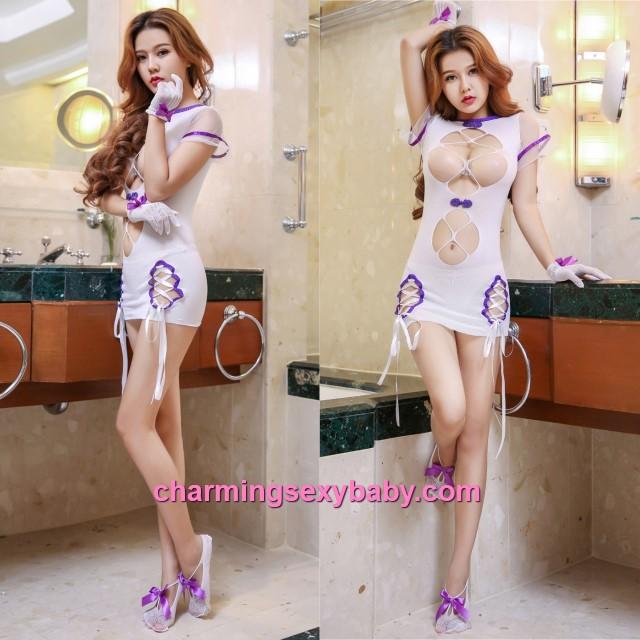 Sexy Purple Edge Fishnet Body Stocking Dress Open Breast Hosiery Lingerie Sleepwear WWL6052