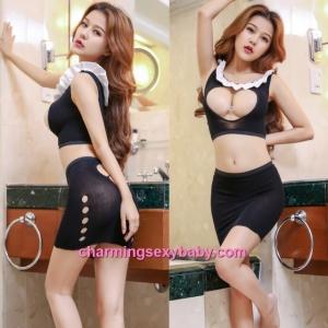 Sexy Black Body Stocking Skirt + Open Breast Top Hosiery Lingerie Sleepwear WWL6053