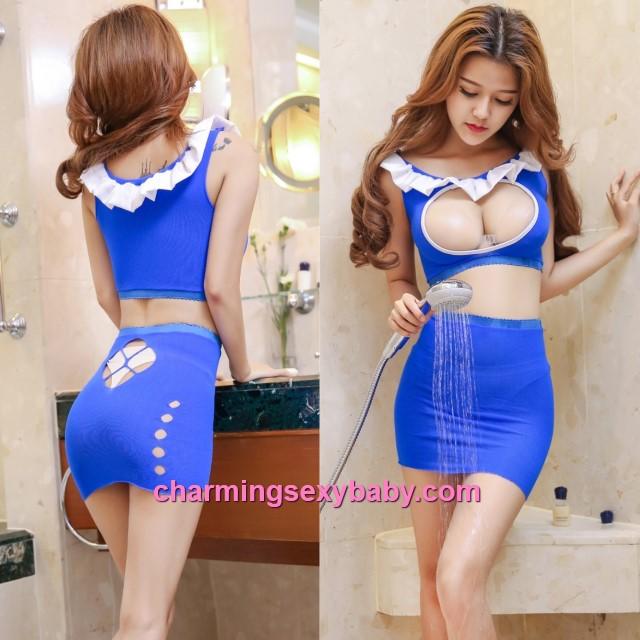 Sexy Blue Body Stocking Skirt + Open Breast Top Hosiery Lingerie Sleepwear WWL6053