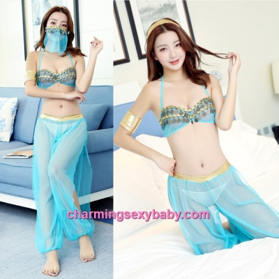 Sexy Lingerie Blue Bra + Pants + Mask Costume Sleepwear Nightwear BH7282