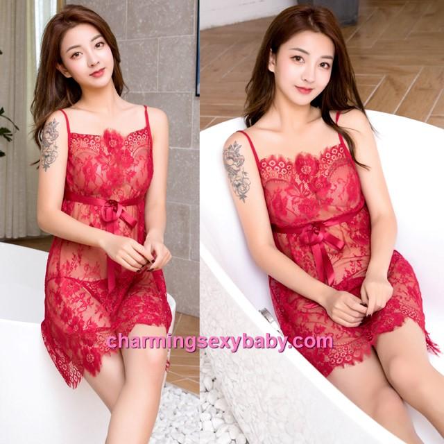 Sexy Lingerie Burgundy Lace Sling Babydoll Dress + G-String Sleepwear Nightwear BH7290