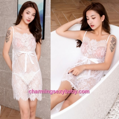 Sexy Lingerie White Lace Sling Babydoll Dress + G-String Sleepwear Pajamas BH7290