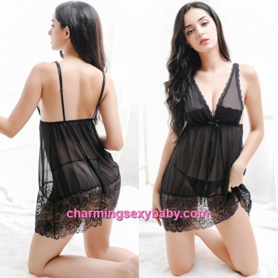 Sexy Lingerie Black Deep V Babydoll Dress + G-String Nightwear Sleepwear MM596