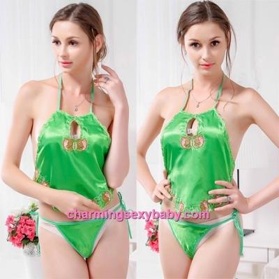 Sexy Lingerie Green Belly Band + Panties Costume Sleepwear Nightwear QQ403
