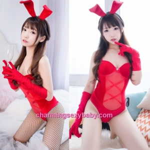 Sexy Lingerie Red Rabbit Teddies Costume Cosplay Sleepwear MH7005