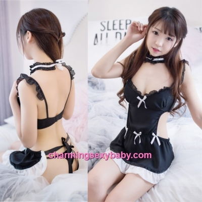 Sexy Lingerie Black Maid Apron Dress Costume Cosplay Sleepwear MH7003