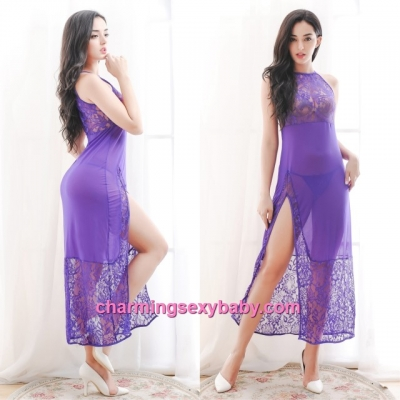 Sexy Lingerie Purple Lace Long Dress + G-String Sleepwear Nightwear MM6639