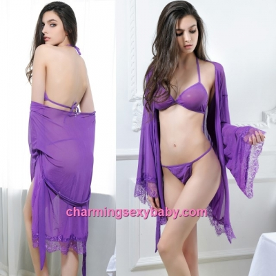 Sexy Lingerie Purple Bra + G-String + Robes Set Sleepwear Nightwear MM6641