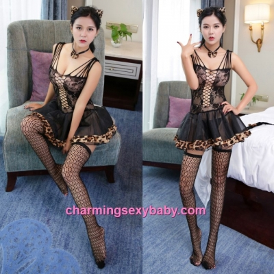 Sexy Cat Woman Fishnet Body Stocking Dress Hosiery Lingerie Costume Nightwear WWL6028