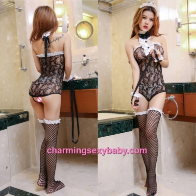 Sexy Maid Fishnet Body Stocking Hosiery Lingerie Costume Nightwear WWL6038