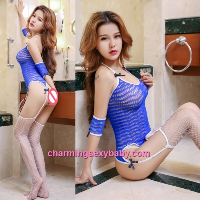 Sexy Blue Fishnet Body Stocking Garter Belt Set Hosiery Lingerie Nightwear WWL6048