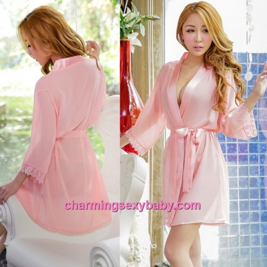 Sexy Lingerie Peach Pink Robes + G-String Sleepwear Pyjamas Baju Tidur MH6003