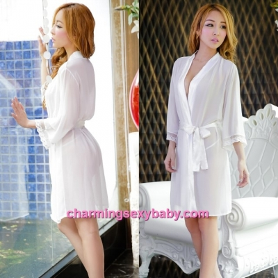 Sexy Lingerie White Robes + G-String Sleepwear Pyjamas Nightwear MH6003